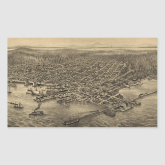 Mapa ilustrado del vintage de Seattle (1878) Pegatina Rectangular