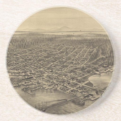Mapa ilustrado del vintage de Seattle (1878) Posavasos Personalizados