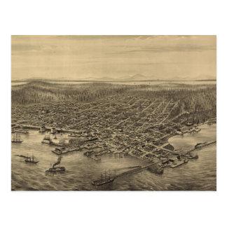 Mapa ilustrado del vintage de Seattle (1878) Postal