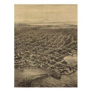 Mapa ilustrado del vintage de Seattle (1878) Postales