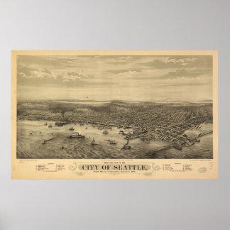 Mapa ilustrado del vintage de Seattle (1878) Póster