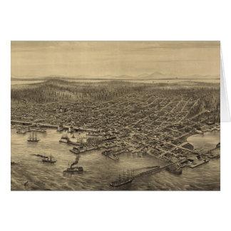 Mapa ilustrado del vintage de Seattle (1878) Tarjeta De Felicitación