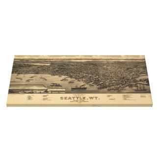 Mapa ilustrado del vintage de Seattle (1884) Lona Estirada Galerías