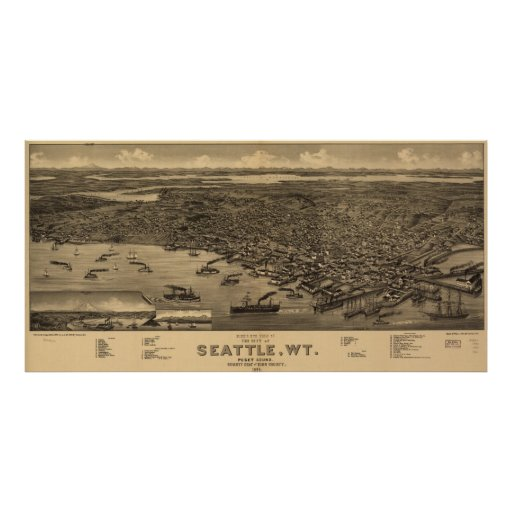 Mapa ilustrado del vintage de Seattle (1884) Poster