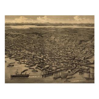 Mapa ilustrado del vintage de Seattle (1884) Postal