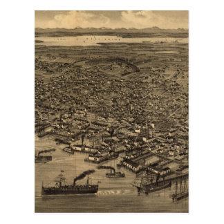 Mapa ilustrado del vintage de Seattle (1884) Postales