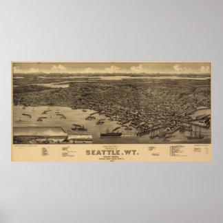 Mapa ilustrado del vintage de Seattle (1884) Póster