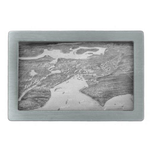 Mapa ilustrado del vintage de Seattle (1908) Hebilla Cinturón Rectangular