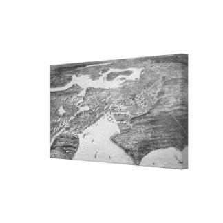 Mapa ilustrado del vintage de Seattle 1908 Lona Estirada Galerias