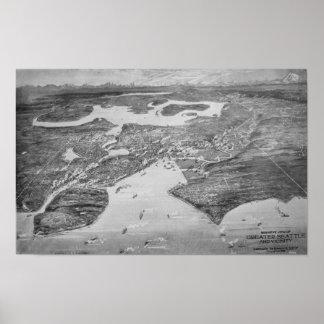 Mapa ilustrado del vintage de Seattle (1908) Póster