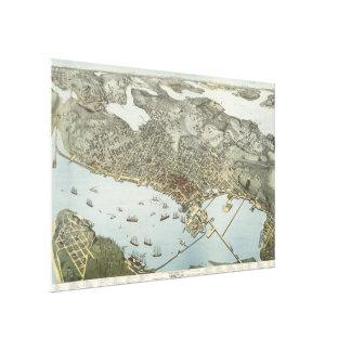 Mapa ilustrado del vintage de Seattle Washington Impresión En Tela