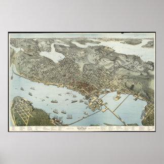 Mapa ilustrado del vintage de Seattle Washington Póster