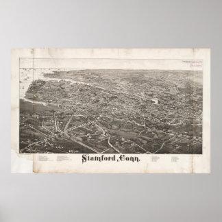 Mapa ilustrado del vintage de Stamford CT (1883) Póster