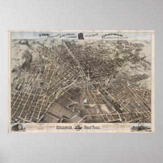 Mapa ilustrado del vintage de Syracuse Nueva York Poster