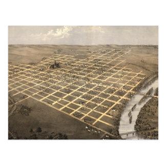 Mapa ilustrado del vintage de Topeka Kansas (1869) Tarjetas Postales