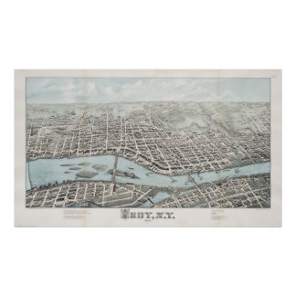 Mapa ilustrado del vintage de Troy Nueva York Póster