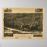 Mapa ilustrado del vintage de Tuscaloosa Alabama Póster