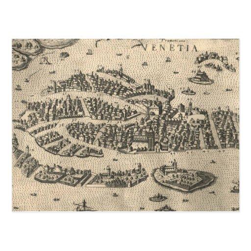 Mapa ilustrado del vintage de Venecia Italia (1573 Tarjeta Postal