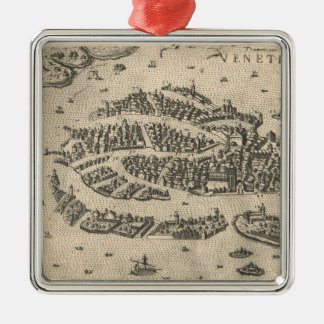 Mapa ilustrado del vintage de Venecia Italia Adorno