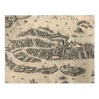Mapa ilustrado del vintage de Venecia Italia Postales