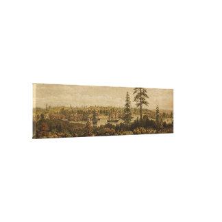 Mapa ilustrado del vintage de Victoria Vancouver Impresión De Lienzo