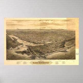 Mapa ilustrado del vintage de Victoria Vancouver Póster