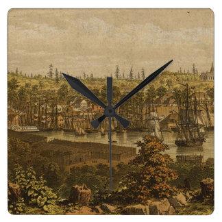 Mapa ilustrado del vintage de Victoria Vancouver Reloj De Pared