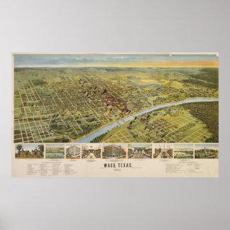 Mapa ilustrado del vintage de Waco Tejas (1892) Impresiones