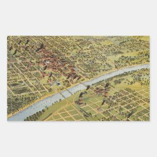 Mapa ilustrado del vintage de Waco Tejas (1892) Pegatina Rectangular