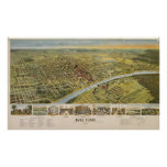 Mapa ilustrado del vintage de Waco Tejas (1892) Póster