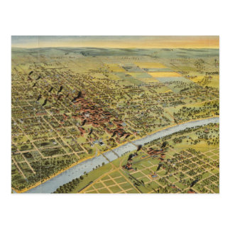 Mapa ilustrado del vintage de Waco Tejas (1892) Postal