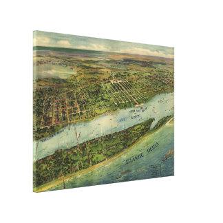 Mapa ilustrado del vintage de West Palm Beach (191 Impresión En Lienzo