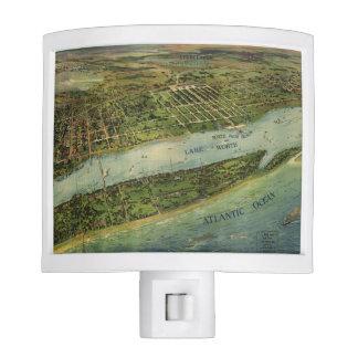 Mapa ilustrado del vintage de West Palm Beach (191 Luces De Noche