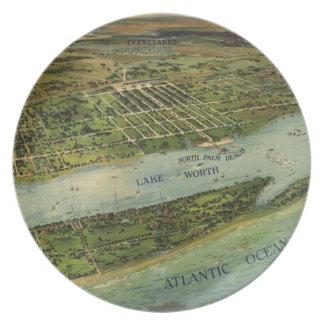 Mapa ilustrado del vintage de West Palm Beach (191 Plato Para Fiesta