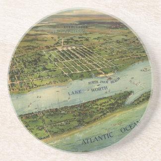 Mapa ilustrado del vintage de West Palm Beach (191 Posavasos Diseño