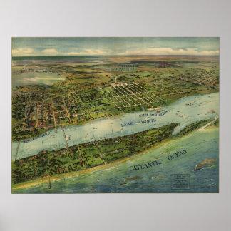 Mapa ilustrado del vintage de West Palm Beach (191 Póster