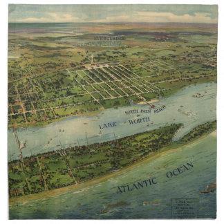 Mapa ilustrado del vintage de West Palm Beach (191 Servilleta De Papel