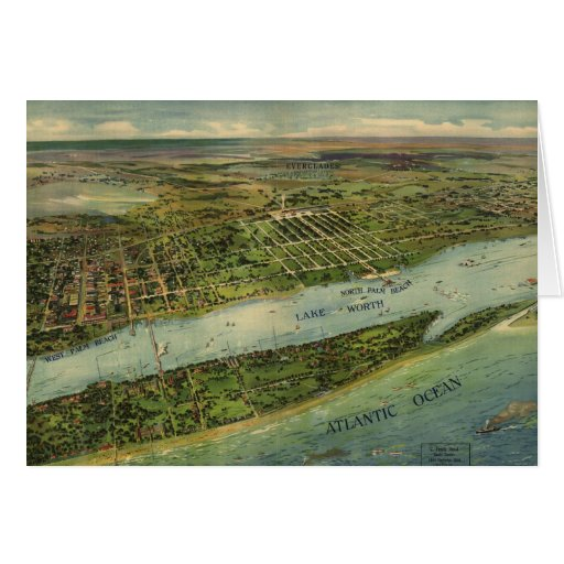 Mapa ilustrado del vintage de West Palm Beach (191 Tarjeta De Felicitación
