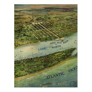 Mapa ilustrado del vintage de West Palm Beach 191 Postales