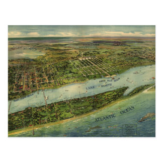 Mapa ilustrado del vintage de West Palm Beach (191 Tarjetas Postales