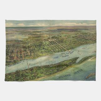 Mapa ilustrado del vintage de West Palm Beach (191 Toalla De Mano