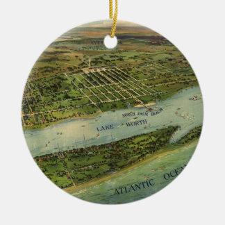 Mapa ilustrado del vintage de West Palm Beach Adorno Navideño Redondo De Cerámica