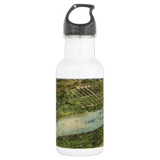 Mapa ilustrado del vintage de West Palm Beach Botella De Agua De Acero Inoxidable