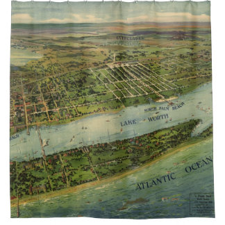 Mapa ilustrado del vintage de West Palm Beach Cortina De Baño