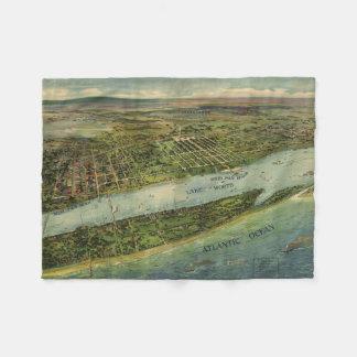 Mapa ilustrado del vintage de West Palm Beach Manta De Forro Polar