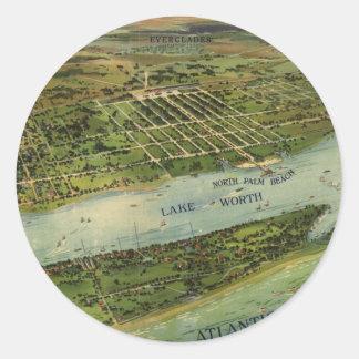 Mapa ilustrado del vintage de West Palm Beach Pegatina Redonda