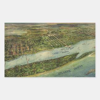 Mapa ilustrado del vintage de West Palm Beach Pegatina Rectangular