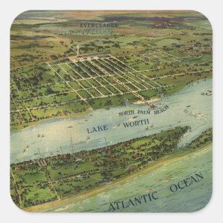 Mapa ilustrado del vintage de West Palm Beach Pegatina Cuadrada