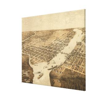 Mapa ilustrado del vintage de WI del Green Bay Lienzo Envuelto Para Galerias