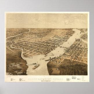 Mapa ilustrado del vintage de WI del Green Bay Póster